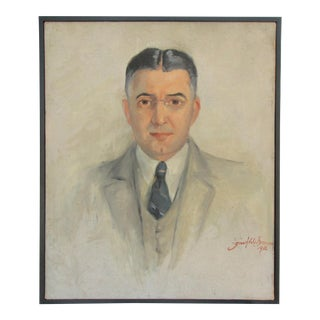 1936 Vintage Portrait of Man in Grey Suit, Signed For Sale