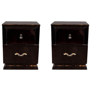 Midcentury Ebonized Walnut End Tables/Nightstands With Sculptural Nickeled Pulls For Sale