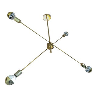 "Stilnovo Style ""X"" Brass Chandelier For Sale"