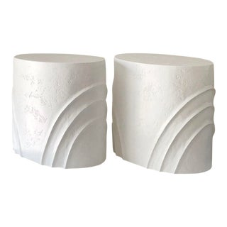 1990s Contemporary Cast Plaster or Cement End Tables - a Pair For Sale