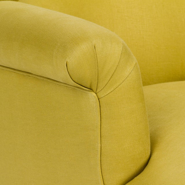 Linen Casa Cosima Napoleon III Chair in Citron Linen For Sale - Image 7 of 8
