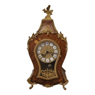 20th Century Reproduction Boulle Style French Mantel Clock For Sale