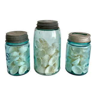 1920s Shell Filled Blue Mason Jars - Set of 3 For Sale