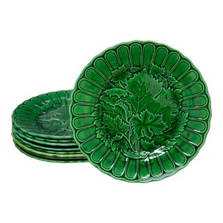 19th C. French Green Majolica Plates - Set of 9 For Sale