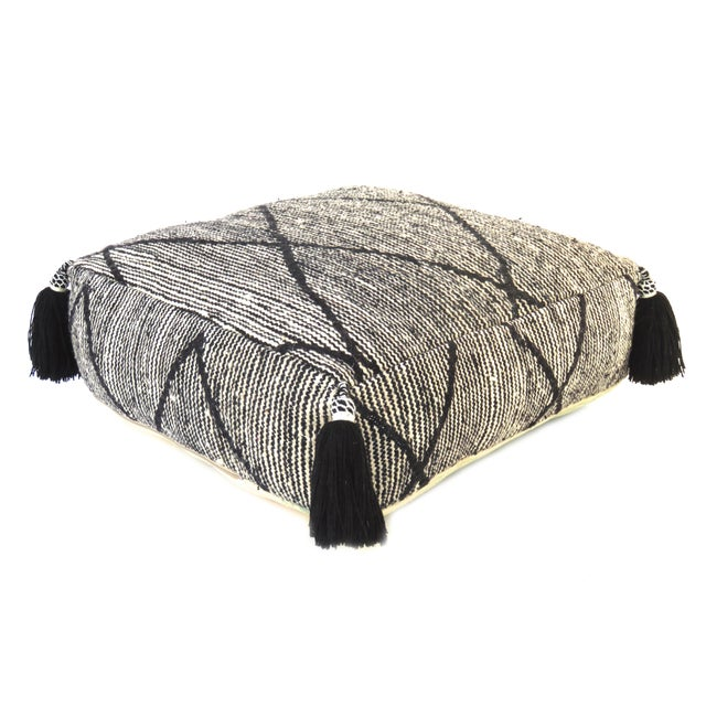Boho Chic Black Beni Ourain Moroccan Wool Pouf For Sale - Image 3 of 9