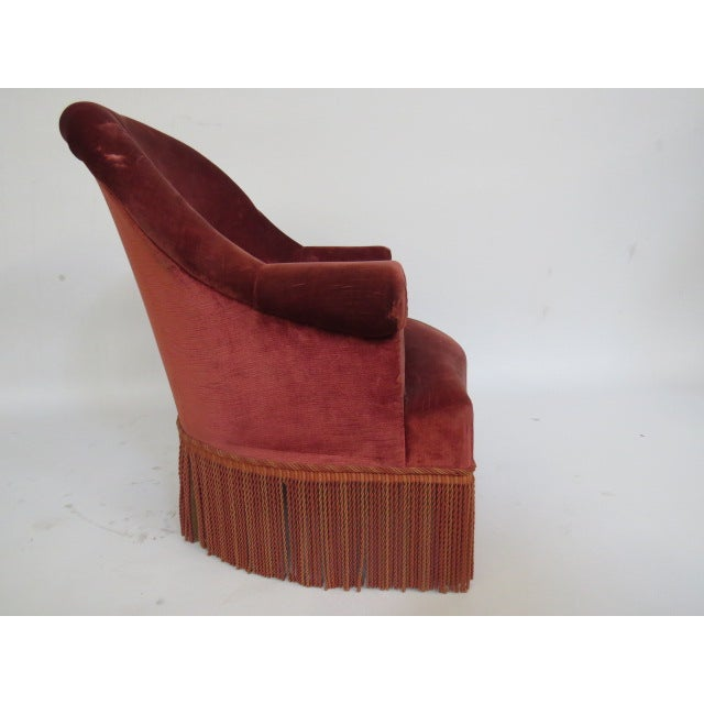 Vintage 1940s Crimson Red Slipper Chair - Image 3 of 5