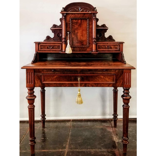 North German Gründerzeit Period Writing Desk in the Form of Historicism With Neoclassic Decoration For Sale - Image 9 of 9