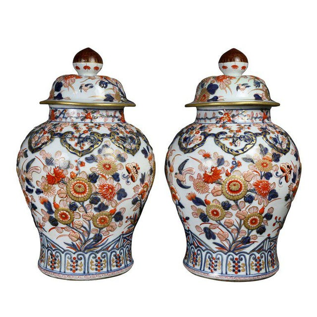Pair of Samson Export Style Covered Temple Jars For Sale In Boston - Image 6 of 10