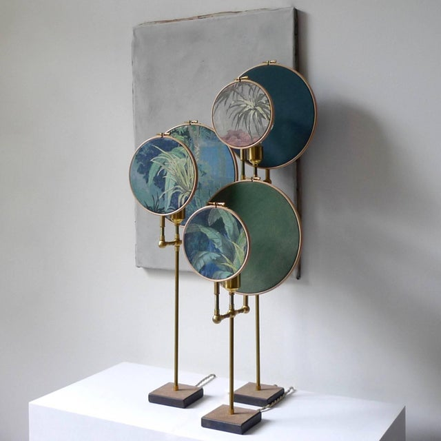 Ensemble of three table lamps, Sander Bottinga Handmade in brass, leather, wood, hand printed and painted linen. A dimmer...