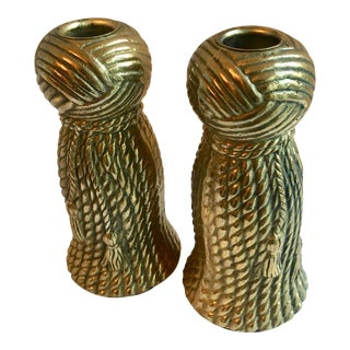 Carved Brass Tassel Candle Sticks - a Pair For Sale