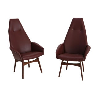 Mid-Century Adrian Pearsall Armchairs in Leather Bordeaux, 1950s - A Pair For Sale
