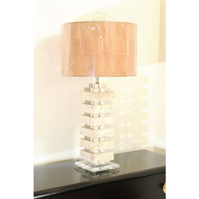 1970s Restored Pair of Vintage Limestone and Lucite Lamps with Blown Glass Finials For Sale - Image 5 of 9