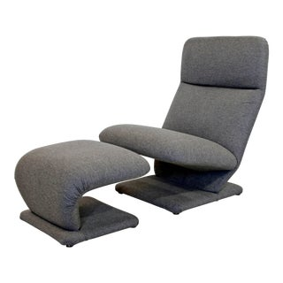 Mid-Century Modern Baughman for DIA Cantilever Lounge Chair and Ottoman, 1970s For Sale