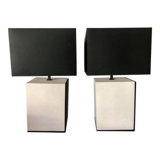 Off White Stone & Black Iron Table Lamps For Sale