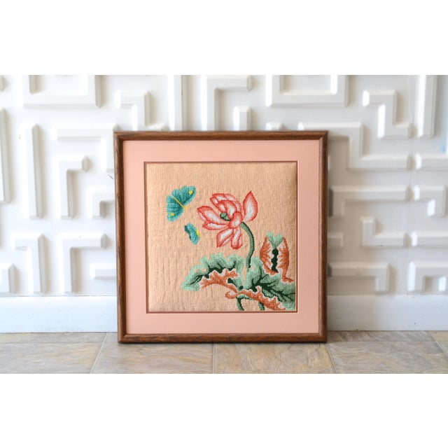 Pink 1970s Vintage Crewel Pink Floral Needlepoint For Sale - Image 8 of 8