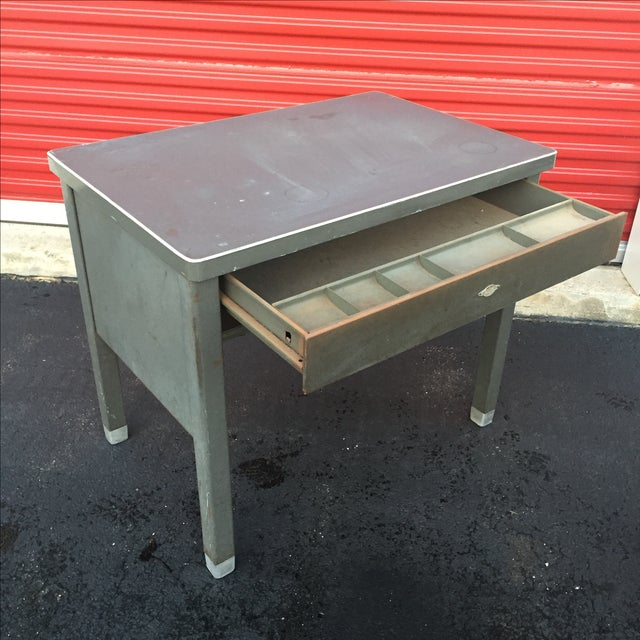 Industrial Age Desk With Drawer by Art Steel For Sale - Image 7 of 11