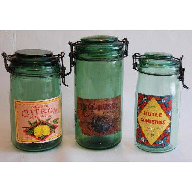 1930s Vintage French Labeled & Lidded Canning Preserve Jars - Set of 3 - Image 3 of 8