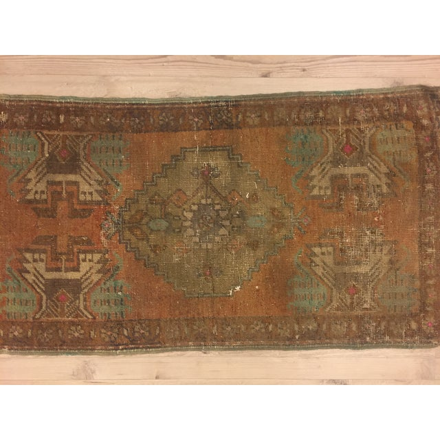 Antique Turkish Handwoven Rug - 1′6″ × 3′ - Image 2 of 6