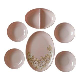 Mid Century Melmac Watertown Melamine Mod Light Pink Dinnerware Set 6 Pieces For Sale