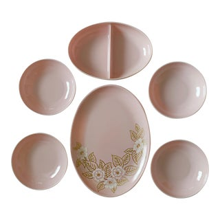Vintage Mid Century Melmac Watertown Melamine Mod Light Pink Dinnerware Set 6 Pieces For Sale