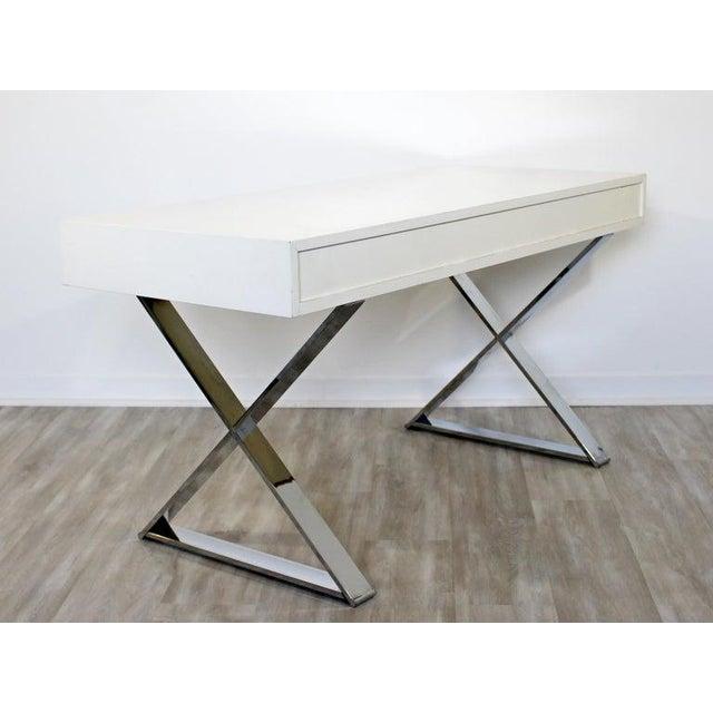 1960s Milo Baughman Mid-Century Modern Campaign White Lacquer Chrome X Base Desk For Sale - Image 10 of 12