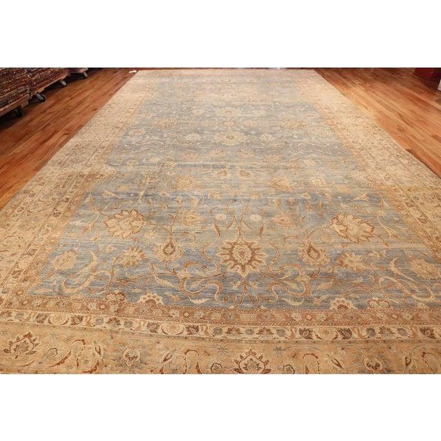 Textile Large Antique Sky Blue Persian Kerman Carpet For Sale - Image 7 of 11