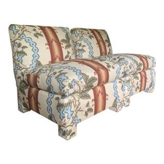 Vintage Brunschwig & Fils Linen Upholstered Slipper Chairs- a Pair For Sale