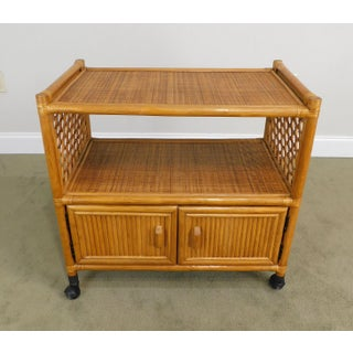 Vintage Rattan Rolling Cabinet Cart Preview