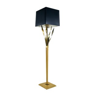 Vintage Floor Lamp With Brass Fronds For Sale