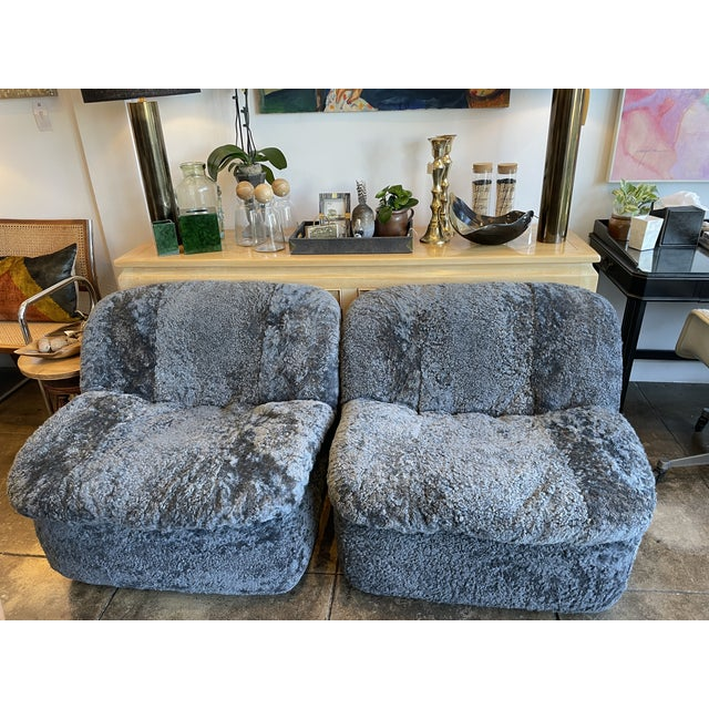 Gray Reupholstered Curly Shearling Swivel Chair - 2 Available For Sale - Image 8 of 10