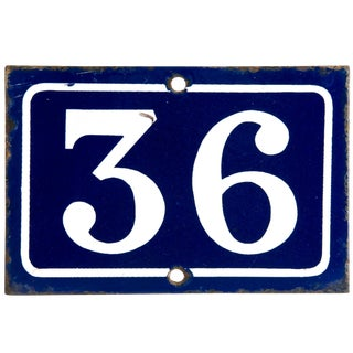 Vintage French Enamel House Number 36