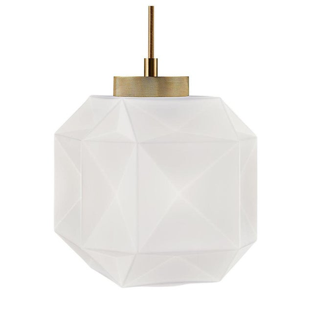 Contemporary Hand Blown Glass and Brass Pendant Light For Sale - Image 3 of 3
