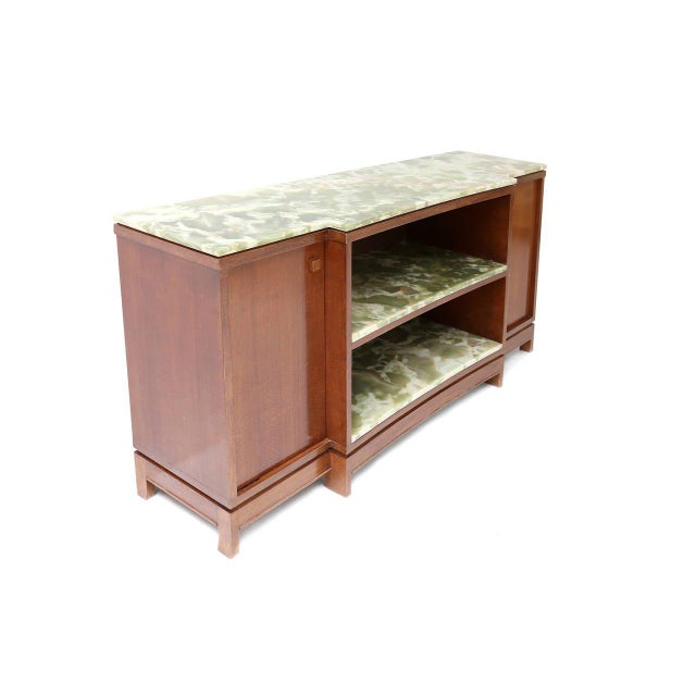 early credenza by Emiel Veranneman, one of the most important Belgian designers impressive pieces of green Onyx marble