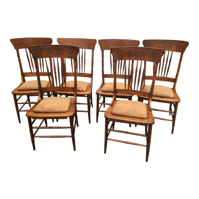 Antique Pressed Oak Spindle Back Chairs - Set of 6 - Antique Pressed Oak Spindle Back Chairs - Set Of 6 Chairish