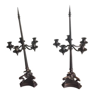 1990s Vintage Bronze Gothic-Style Candleholders - A Pair For Sale