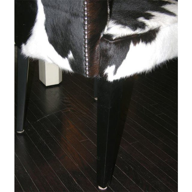 Pair of Custom Black and White Spotted Cowhide Deco Chairs For Sale - Image 4 of 8