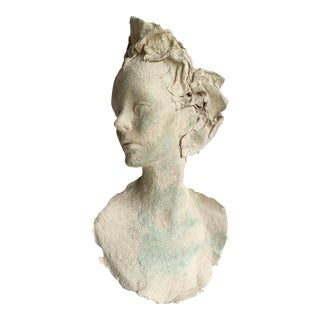 Vintage Female Bust Paper Mache Hand Painted Sculpture For Sale