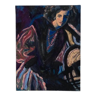 Vintage Mid-Century Painting of a Woman, H. Krell, American Painter For Sale