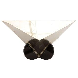 Italian Stainless Steel and Black Resin Geometric Modernist Sculptural Bowl