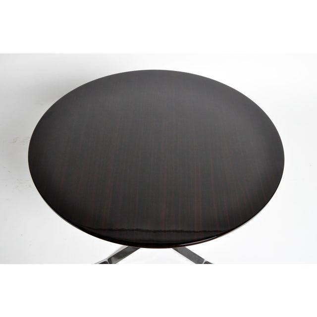 Round Table with Metal Legs and New Veneer Top For Sale In Chicago - Image 6 of 11