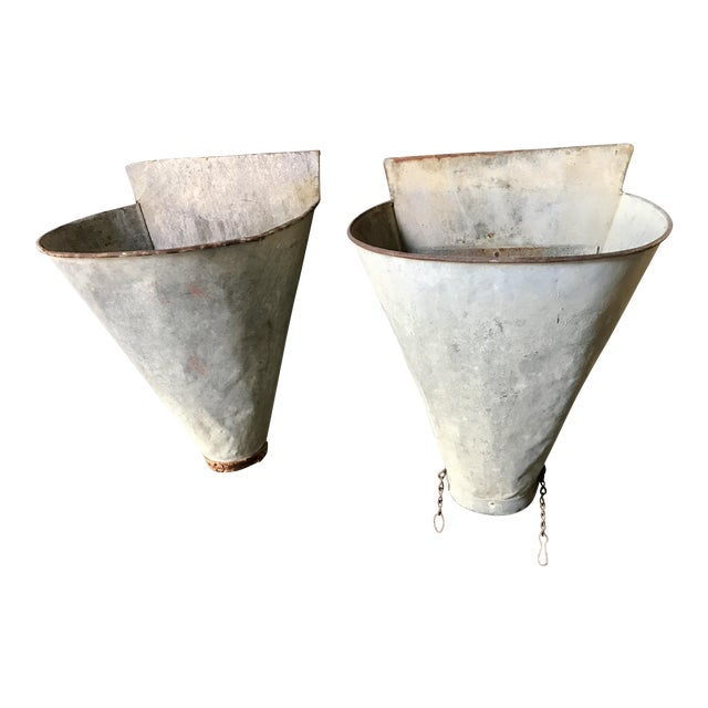 Vintage French Zinc Harvest Bins - A Pair - Image 1 of 8