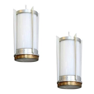 1960s Mid-Century Aluminum Cylinder Hanging Lamps - a Pair For Sale