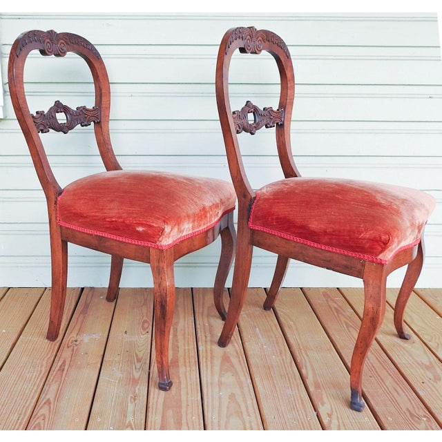 Antique Walnut Hand Carved Velvet Side Chairs - a Pair For Sale - Image 4 of 12