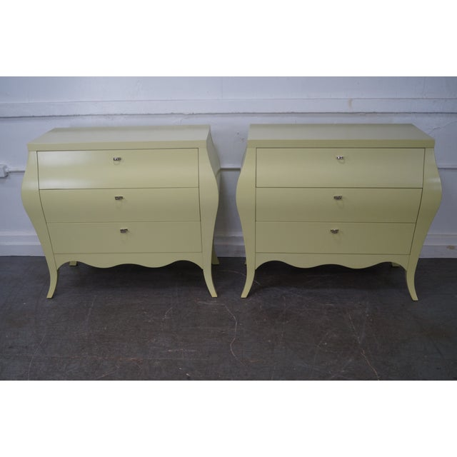 Drexel Heritage Yellow Painted Bombe Chests - A Pair - Image 2 of 10