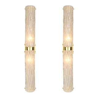 Frosted Murano Glass and Brass Sconces For Sale
