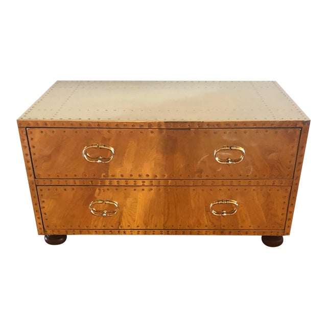 Sarreid Ltd. Brass Trunk For Sale