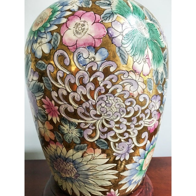Stunning and unique, this vintage Heyward Home table lamp was originally a grand Chinese ginger jar hand-painted with...