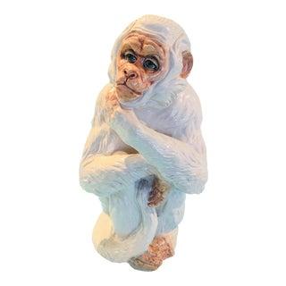 Vintage Glazed Terra Cotta Monkey Statue