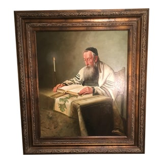 Late 20th Century Rabbi at Desk Original Oil on Canvas Painting For Sale