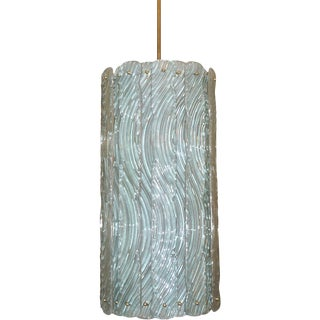 Modern Italian Aquamarine Crystal Murano Glass Tall Brass Lantern / Chandelier - in Showroom For Sale